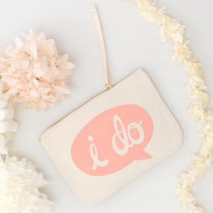 'I Do' Canvas Pouch - make-up bags