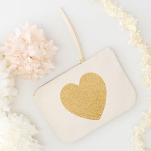 Glitter Heart Canvas Pouch - make-up & wash bags