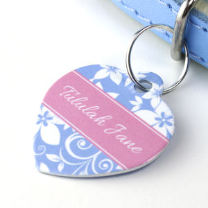Personalised Pet Name ID Tag Heart Floral - cats