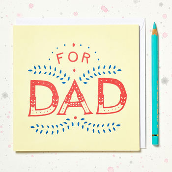 'For Dad' Hand Lettered Card