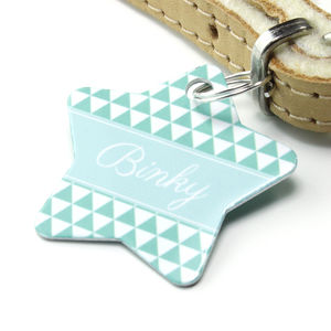 Personalised Triangle Pet Tag Star Shaped