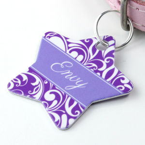 Personalised Pet Name ID Tag Star Swirl - cats