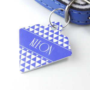 Personalised Triangle Pet Tag Diamond Shaped