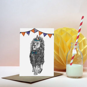 'Party Animal' Lion Greeting Card