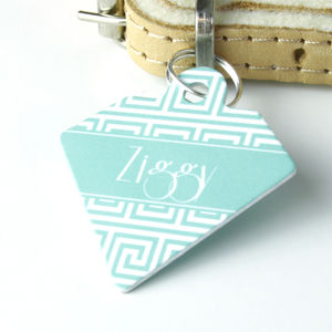 Personalised Pet Name ID Tag Diamond Maze - cats