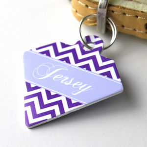 Personalised Chevron Pet Tag Diamond Shaped - cats
