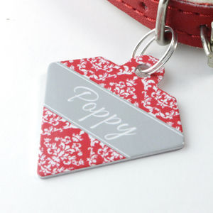 Personalised Damask Pet Tag Diamond Shaped