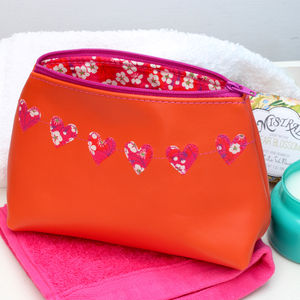Leather Heart Bunting Cosmetics Bag - make-up & wash bags