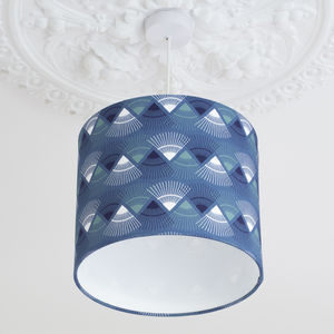 A Handmade Blue 'Rakish' Print Lamp Shade - lighting