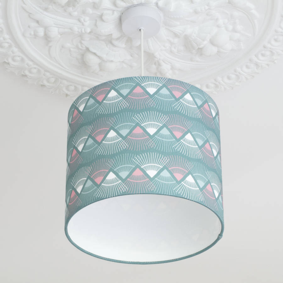 A Handmade Mint Green Rakish Print Lamp Shade