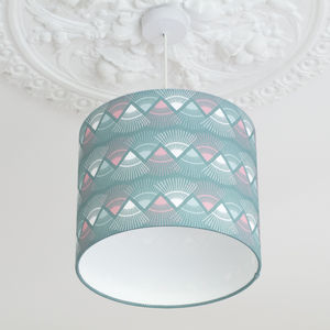 A Handmade Mint Green 'Rakish' Print Lamp Shade - bedroom
