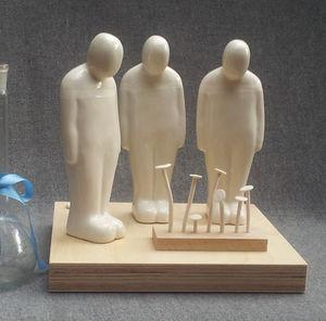 Three Men With Nails Sculpture - sculptures