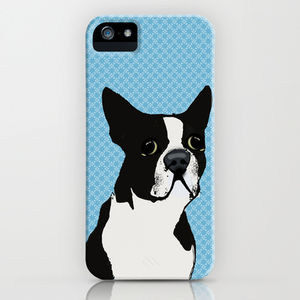 Boston Terrier Dog On Blue Pattern Phone Case - phone & tablet covers & cases