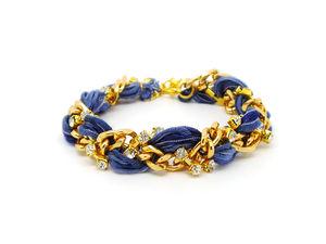 Gold Chain And Rhinestone Braided Bracelet - bracelets & bangles