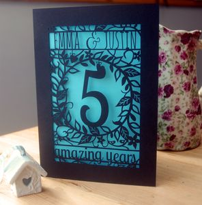Personalised Papercut Flower Anniversary Card
