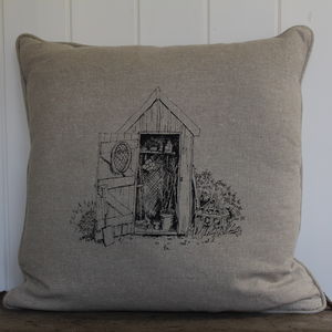 Garden Shed Printed Cushion - living room