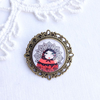 Vintage Style Russian Doll Brooch