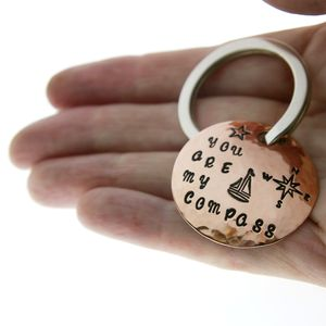 'You are my compass' Copper Keyring