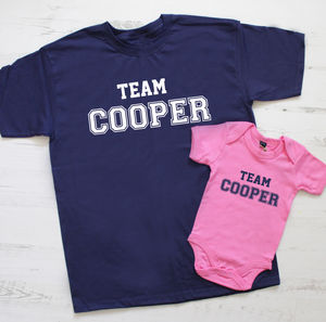 'Team Surname' Father And Baby T Shirt Set - personalised