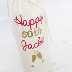Personalised 'Birthday' Bottle Bag - birthday labels & tags