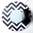 Personalised Round Mouse Mat Chevron