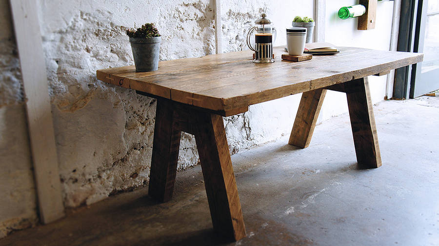 reclaimed wood farmhouse coffee table by revive joinery
