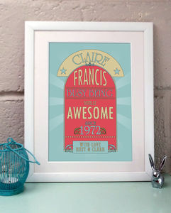 Personalised Awesome Birthday Print