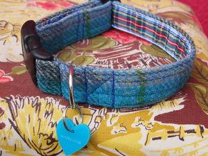 Hushinish Harris Tweed Dog Collar - walking