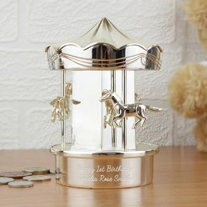 Personalised Silverplate Carousel Money Box - children's storage