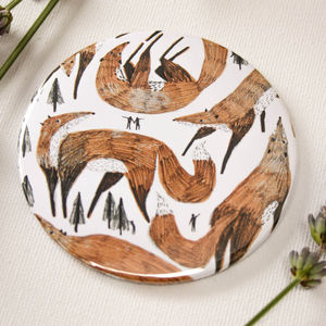 Giant Foxes Illustrated Pocket Mirror - health & beauty
