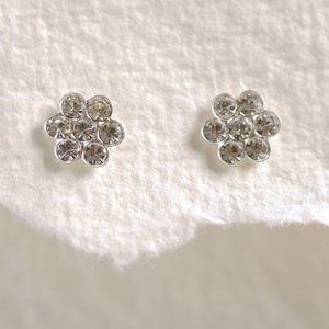 Diamante Flower Stud Earrings - earrings