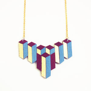 Leather Geometric Causeway Necklace - geometric shapes