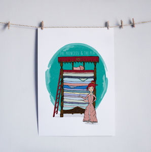 Princess And The Pea Illustrated Print