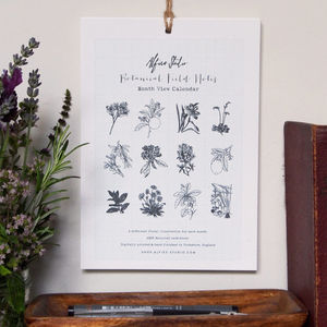 Botanical Field Notes Month View Calendar