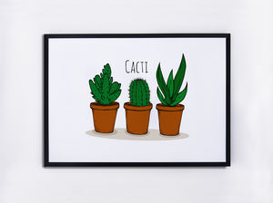Cacti Illustrated Print - on trend: cactus