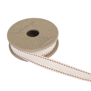 Sophie Allport Pale Cream With Red Stitch Ribbon