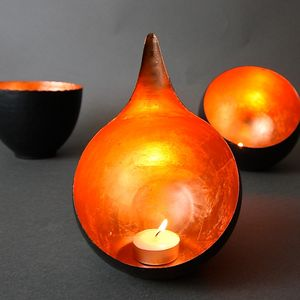 Copper Leaf Teardrop Votive - tableware