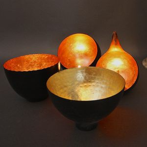 Gold Leaf Bowl Tealight Votive - lighting