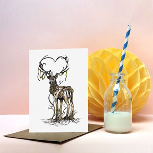'Great Rooted Stag' Greeting Card