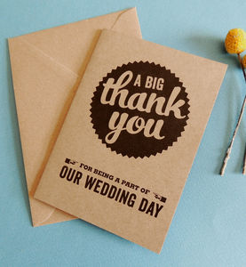 Pack Of 10 Retro Wedding Thank You Cards - styling your day