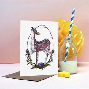 'Fawn And Thistle' Greeting Card - cards & wrap