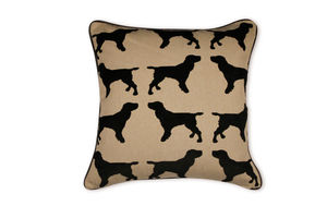 Eaton Spaniel Cushion With Leather Piping - cushions