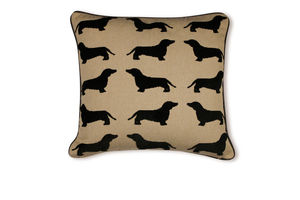 Eaton Dachshund Cushion With Leather Piping