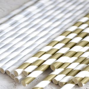 Metallic Striped Paper Straws - table decorations