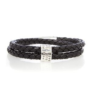 Roll With You Black Leather Bracelet - men's jewellery
