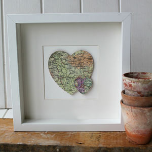 Personalised Double Heart Map Picture - mixed media & collage