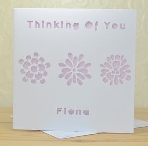Personalised Laser Cut Thinking Of You Card - get well soon cards