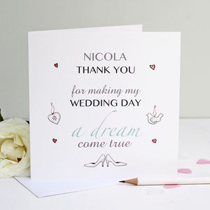 Personalised 'Dream Wedding' Thank You Card - wedding, engagement & anniversary cards