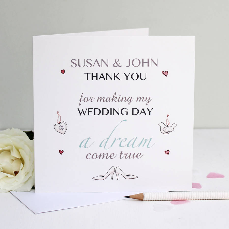 Wedding Gift Thank You Card Ideas : Ideas Wedding Thank You For Gift Card personalised dream wedding thank ...