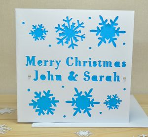 Personalised Laser Cut Snow Christmas Card - christmas cards